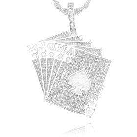 Pingente Carta de Baralho Cravejada (4,5cmX4,6cm) (13,6g) (Banho Prata 925)