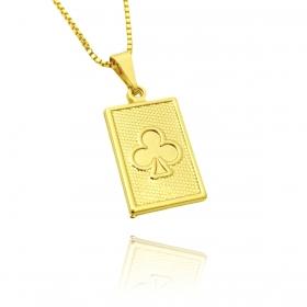 Pingente Cartas Baralho (2,4cmX1,4cm) (2,3g) (Banho Ouro 18k)