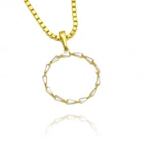 Pingente Circle Cravejado em Zircônia (Banho Ouro 24k)