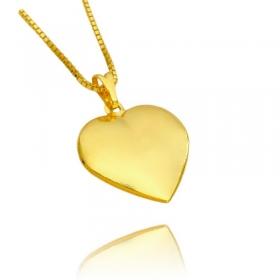 Pingente Coração Liso (2,2cm X 2,1cm) (Banho Ouro 24k)