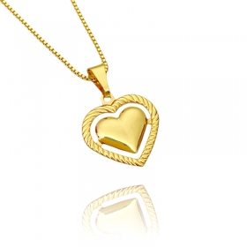 Pingente Coração Vazado (2,2cmX2cm) (Banho Ouro 24k)