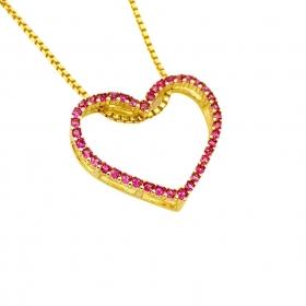 Pingente Coração Vazado Cravejado em Zircônia Rosa (Banho Ouro 24k)