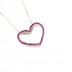 Pingente Coração Vazado, Cravejado em Zircônia Rosa Escuro (Banho Prata 925)