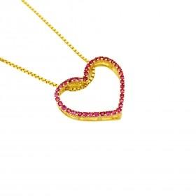 Pingente Coração Vazado, Cravejado em Zircônia Vermelha (Banho Ouro 24k)