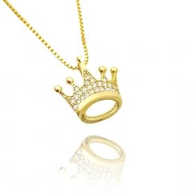 Pingente Coroa Cravejado em Zircônia (Banho Ouro 24K)