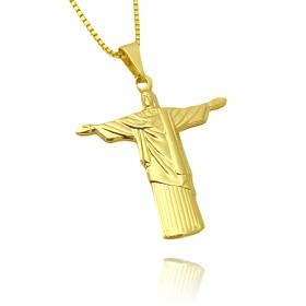Pingente Cristo Redentor (3,1cmX2,8cm) (Banho Ouro 24k)