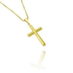 Pingente Crucifixo (2,5cmX1,6cm) (Banho Ouro 24k)