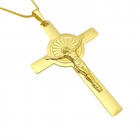 Pingente Crucifixo 5,0cm X 3,2cm (Banho Ouro 24k)
