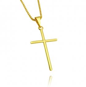 Pingente Crucifixo Agulha (2,9cmX1,9cm) (Banho Ouro 24k)