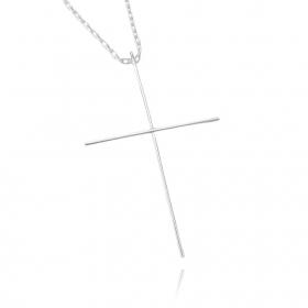 Pingente Crucifixo Agulha G (6,5cmX4,2cm) (Banho Prata 925)