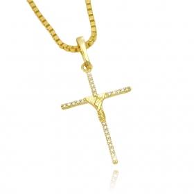 Pingente Crucifixo Agulha Trançado Cravejado (3,8cmX2,5cm) (Banho Ouro 24k)