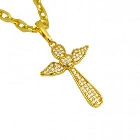 Pingente Crucifixo Asas Cravejado em Zircônia 2,8x2,1cm (Banho Ouro 24k)