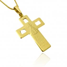 """Pingente Crucifixo """"Ave Maria"""" Vazado 3,0cm X 2,1cm (Banho Ouro 24k)"""