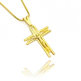 Pingente Crucifixo c/ Cristo (3,4cmX2,5cm) (Banho Ouro 24k)