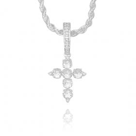 Pingente Crucifixo c/ Zircônia (2,9cmX2,1cm) (Banho Prata 925)
