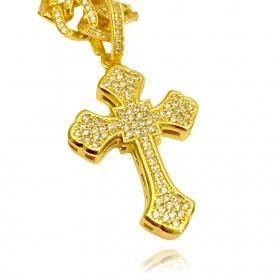 Pingente Crucifixo Catedral Cravejado em Zircônia (4,4cmX3cm) (10,2g) (Banho Ouro 24k)