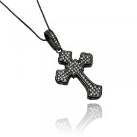Pingente Crucifixo Catedral Cravejado em Zircônia (4,5cmX3cm) (10,5g) (Banho de Ônix)