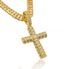 Pingente Crucifixo Cravejado 79 Pedras (3,8cmX2,6cm) (Banho Ouro 24k)