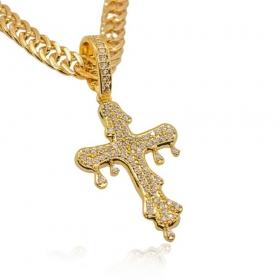 Pingente Crucifixo Cravejado c/ Gotas (4,3cmX2,8cm) (Banho Ouro 24k)