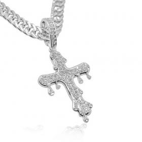 Pingente Crucifixo Cravejado c/ Gotas (4,3cmX2,8cm) (Banho Prata 925)