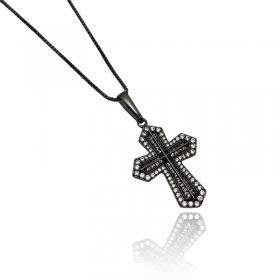 Pingente Crucifixo Cravejado em Zircônia (3,4cmX2,4cm) (Banho de Ônix)