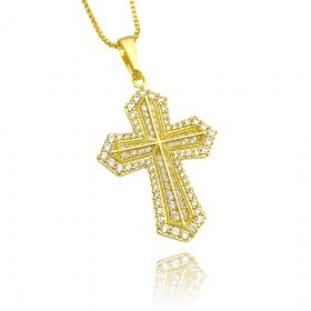 Pingente Crucifixo Cravejado em Zircônia (3,4cmX2,4cm) (Banho Ouro 24k)