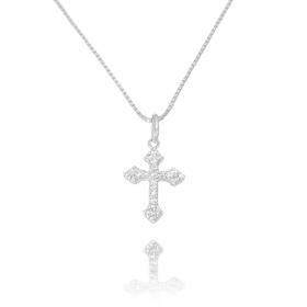 Pingente Crucifixo Cravejado Zircônia (1,9cmX1,3cm) (Prata 925 Maciça)