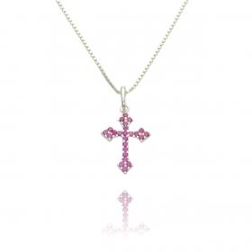 Pingente Crucifixo Cravejado Zircônia Rosa (1,9cmX1,3cm) (Prata 925 Maciça)