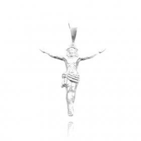 Pingente Crucifixo Cristo (3,1cmX2,8cm) (Prata 925 Italiana)