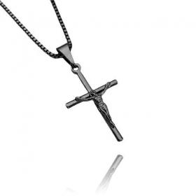 Pingente Crucifixo Cristo Relevo (2,5cmX1,6cm) (Banho de Ônix)