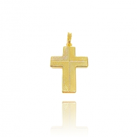 Pingente Crucifixo Duas Texturas 3cm X 2cm (Banho Ouro 24k)
