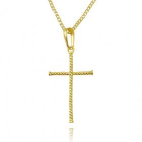 Pingente Crucifixo Enrolado (4cmX2,4cm) (Banho Ouro 24k)