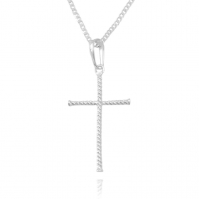 Pingente Crucifixo Enrolado (4cmX2,4cm) (Banho Prata 925)