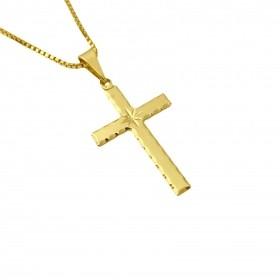 Pingente Crucifixo Estrela Lakshmi 2,8cm X 1,6cm (Banho Ouro 24K)