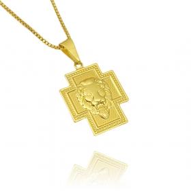 Pingente Crucifixo Face Leão 1,8cm X 2,3cm (Banho Ouro 24k)