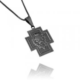 Pingente Crucifixo Face Leão (1,8cmX2,3cm) (Banho de Ônix)