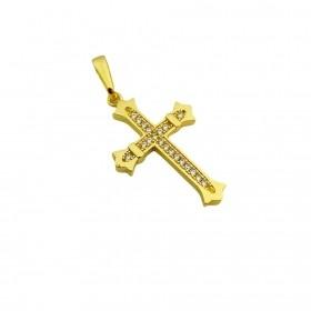 Pingente Crucifixo Gótico Cravejado em Zircônia (3cmX2cm) (Banho Ouro 24k)