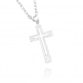Pingente Crucifixo Laminado (3cmX1,7cm) (Prata 925 Italiana)