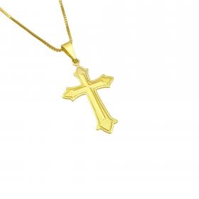 Pingente Crucifixo Médio (3,3cm X 2,0cm) (Banho Ouro 24k)