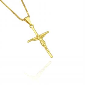 Pingente Crucifixo Médio Alto Relevo (2,8cmX1,8cm) (Banho Ouro 24k)