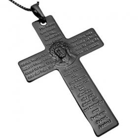 Pingente Crucifixo Pai Nosso (5,1cmX3,5cm) (Banho de Ônix)
