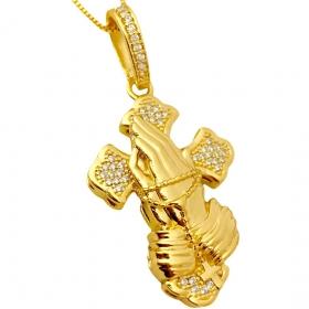 """Pingente Crucifixo """"Prece"""" Cravejado em Zircônia (4,5cmX3cm) (14g) (Banho Ouro 24k)"""