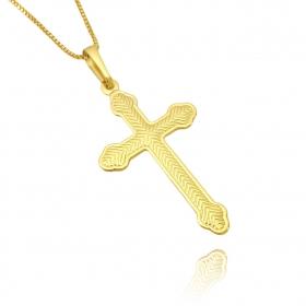 Pingente Crucifixo Resina Texturizado (Banho Ouro 24k)