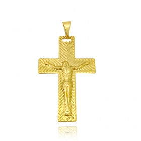 Pingente Crucifixo Texturizado Relevo 4,5cm X 2,8cm (Banho Ouro 24k)