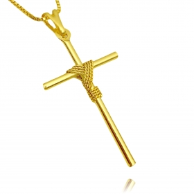 Pingente Crucifixo Trançado 1 (4cmX2,2cm) (Banho Ouro 24k)