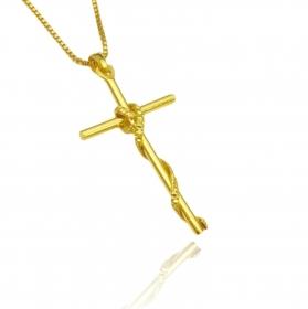 Pingente Crucifixo Trançado 2 (4,0cmX2,2cm) (Banho Ouro 24k)