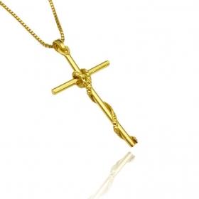 Pingente Crucifixo Trançado 2 (4,0cm X 2,2cm) (Banho Ouro 24k)