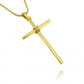 Pingente Crucifixo Trançado 3 (4cmX2,4cm) (Banho Ouro 24k)