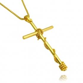 Pingente Crucifixo Trançado 4 (1,8cm X 3,5cm) (Banho Ouro 24k)