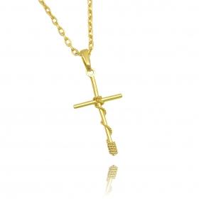 Pingente Crucifixo Trançado 4 Mini (3,5cmX2,1cm) (Banho Ouro 24k)